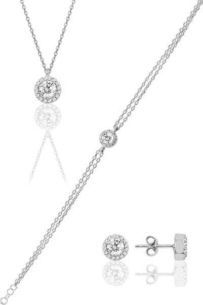 Kadın Gümüş Pırlanta Modeli Set SGTL9893
