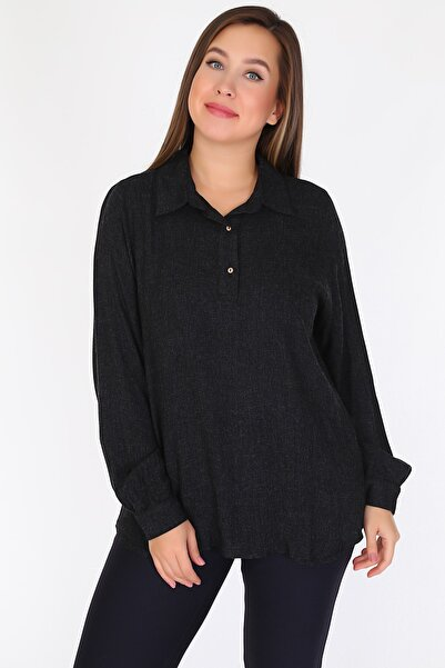 RMG Kadın Siyah Bluz 6906