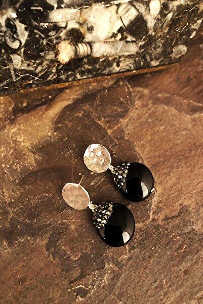 Dr. Stone Doğaltaş Kadın Oniks Taşı Gümüş Kaplama Küpe Ryl12