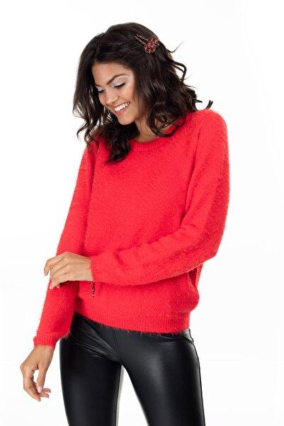 Vero Moda Kadın Kırmızı Sırt Dekolteli Kazak 10215575 VMPOILU