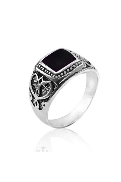 VipBT Antika Gümüş Kaplama  Siyah Kare Emaye Erkek Yüzük  TR32478194053