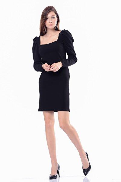 İroni Kadın Siyah Şal Desen Fırfırlı  Şifon Elbise 5294-1202