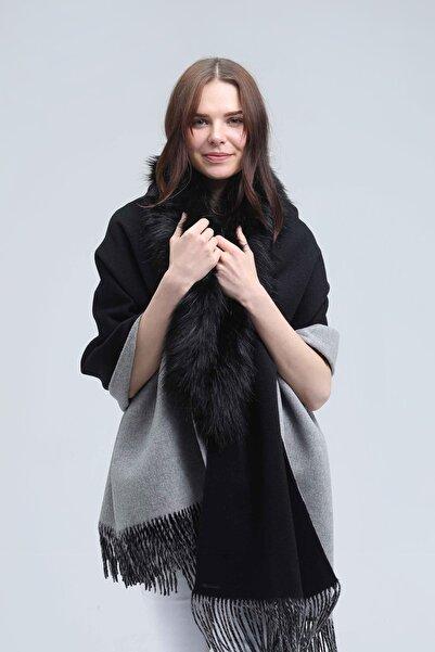 Silk and Cashmere Kadın Siyah Kaşmir Karışımlı Rose Kürk Detaylı Şal A191F347001003