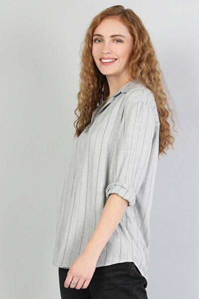 Colin's KADIN Blouse Shirt Neck Kadın Gri Uzun Kol Gömlek CL1045537