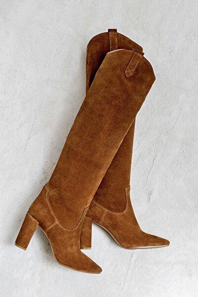 Elle Shoes SUZIA Hakiki Deri Taba Kadın Çizme