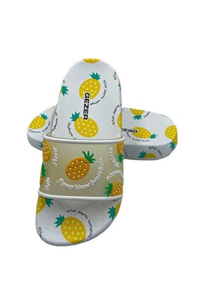 GEZER Çocuk Sarı Ananas Tasarımlı Terlik
