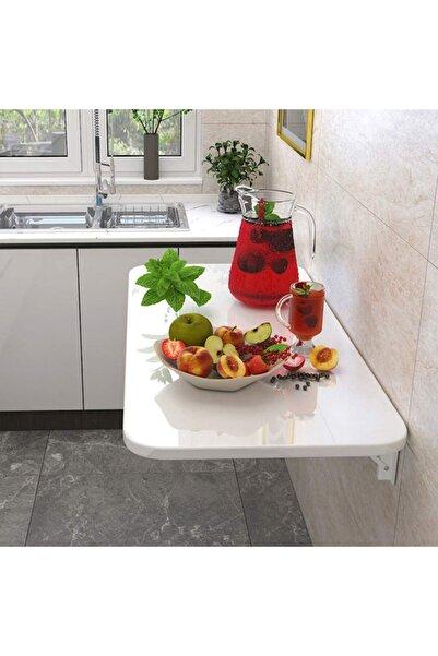 Kydonia Home 60x110 Cm Parlak Beyaz Mdf Duvara Monte Kırma Katlanır Masa 4 Kişilik