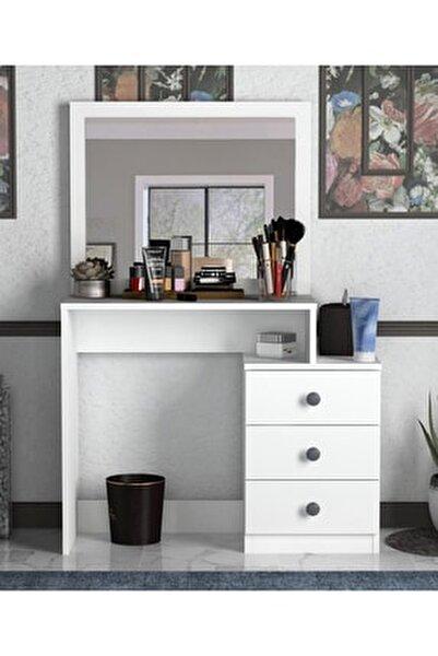 Decanter 3 Çekmeceli Dresuar - Makyaj Masası Mat Beyaz