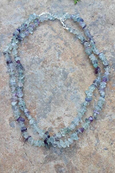 Stoneage Jewellery Florit Doğal Taş Çift Sıra Bayan Kolye