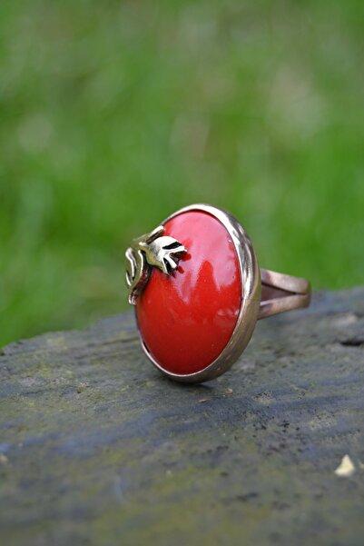 Stoneage Kırmızı El Yapımı Seramik Ayarlanabilir Bayan Yüzük