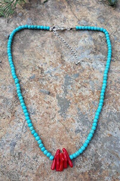 Stoneage Jewellery Mercan Doğal Taş Turkuaz Kolye