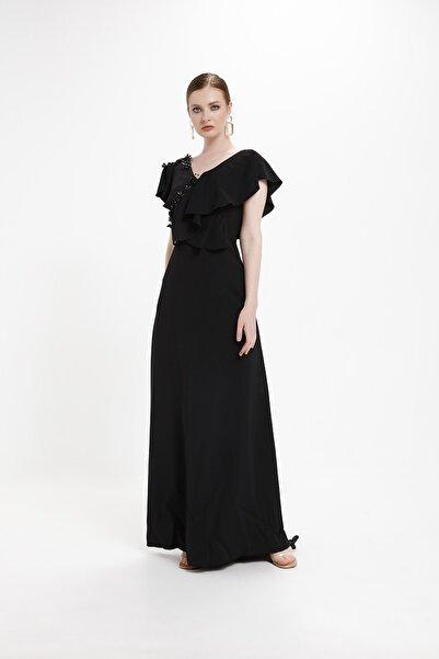 minel aşk Siyah Rengi,volanlı, Işleme Detaylı Abiye Elbise