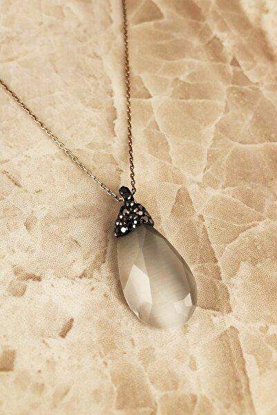 Dr. Stone Doğaltaş Kadın Kedigözü Taşı 925 Ayar Gümüş Kolye RYL122
