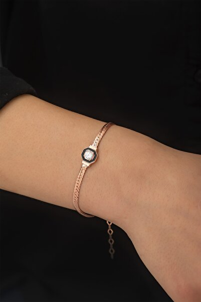 Papatya Silver Yassız Zincir Nano Zirkon Taşlı Rose Gold Kaplama 925 Ayar Gümüş Bileklik