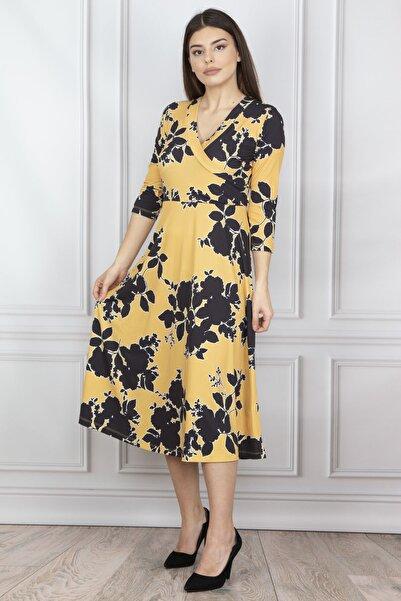 Şans Kadın Sarı Anvelop Yaka Kuşak Detaylı Elbise 26N12136