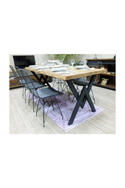 NT Concept Masif Kütük Açık Ceviz Yemek Masası - Mym00745 - 60cm - 120cm