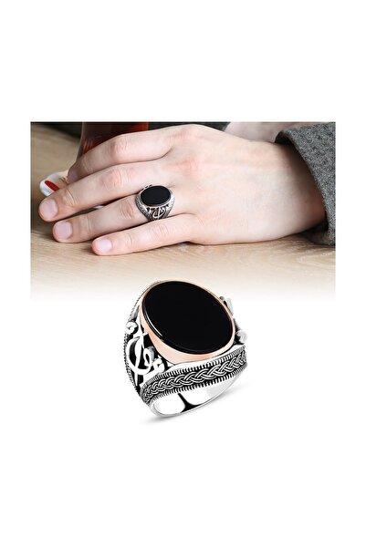 Tesbihane Elif Vav İşlemeli Siyah Oniks Taşlı 925 Ayar Gümüş Süveyda Yüzüğü 102001105