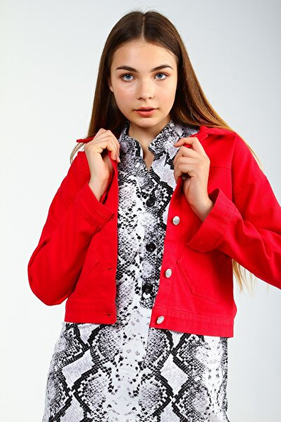 Collezione Kırmızı Kadın Sıyah Spor Crop Ceket