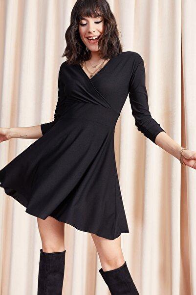 Olalook Kadın Siyah Kruvaze Elbise ELB-19000943