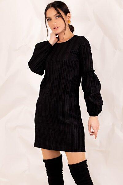 armonika Kadın Siyah Kolu Balonlu Kadife Elbise ARM-20K001107