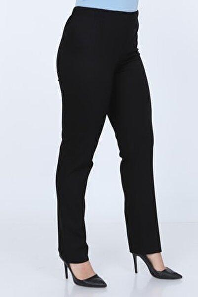 Büyük Beden Siyah Beli Lastikli Pantolon
