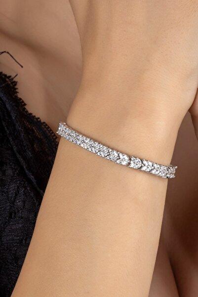 Else Silver Pırlanta Modeli Mekik Taşlı Su Yolu Gümüş Bileklik