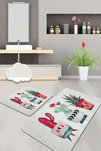 Chilai Home HAPPY CACTUS DJT 2 LI SET Banyo Halısı, Paspas