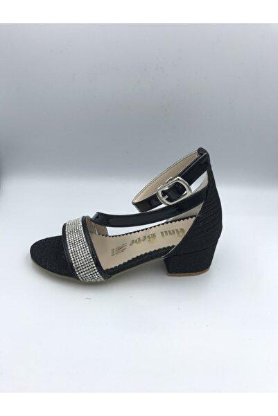 Anıl Kız Çocuk Topuklu Siyah Simli Abiye Ayakkabı