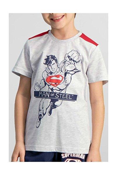Superman Lisanslı Açık Gri Erkek Çocuk Kapri Takım L9917-c-v1