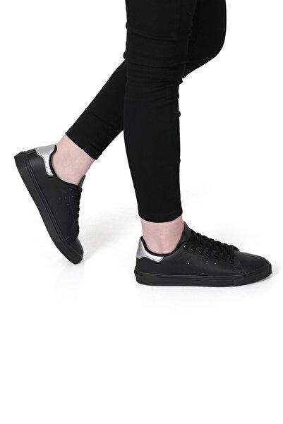 Rock & Roll Kadın Siyah Parlak Gri Deri Görünümlü Günlük Sneaker