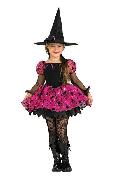 Hkostüm Cadılar Bayramı Işıklı Cadı Kostümü Fuşya 5-6 Yaş Fuşya /