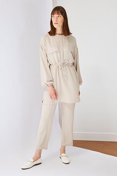 Trendyol Modest Bej Cep Detaylı Tunik Pantolon Kuşak Detaylı Alt-Üst Takım TCTSS21AU0238