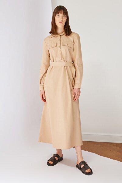 Trendyol Modest Camel Gömlek Yaka Tesettür Elbise TCTSS21EL3442