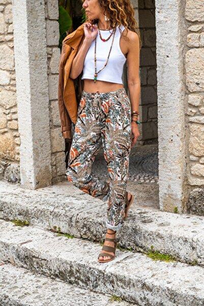 Güneşkızı Kadın Haki Beli Lastikli Cepli Dar Paça Salaş Pantolon GK-CCKCC4003