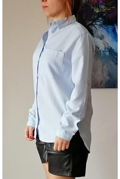 Mixray Kadın Mavi Tek Cepli Gömlek