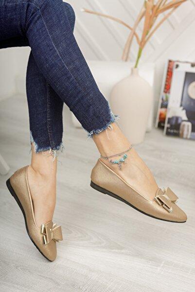 Modafırsat Kadın Altın Fiyonk Ayna Babet Ayakkabı