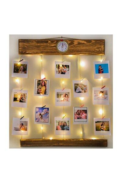 Webotto Ahşap Led Işıklı Saatli Jüt Ipli Mandallı Fotoğraf Askısı Fotoğraf Çerçevesi Albümü