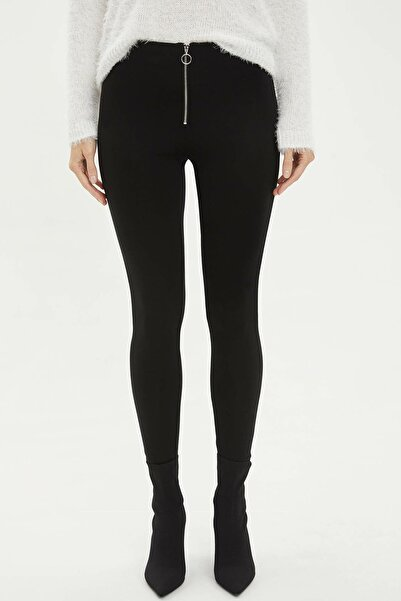 DeFacto Kadın Siyah Fermuarlı Slim Fit Chino Pantolon K7644AZ.20SP.BK27