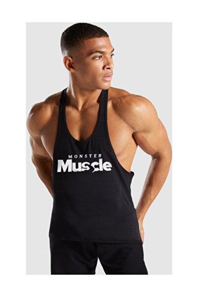 Ghedto Erkek Siyah Monster Muscle Gym Fitness Tank Top Sporcu Atleti