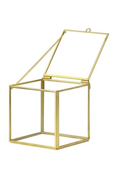 Ahşap Fikir Little Cube Gold Kalemlik Organizer Makyaj Cam Kutu