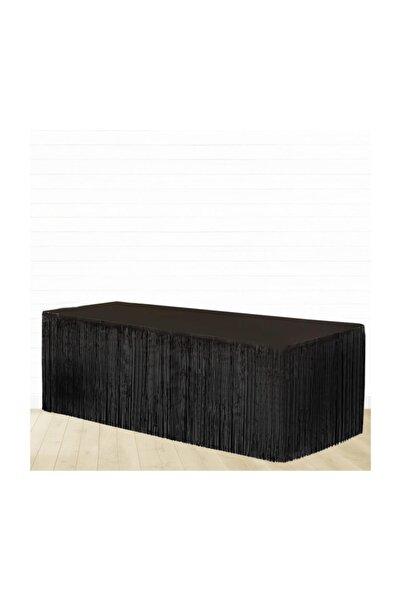 crv Siyah Renk Metalize Püsküllü Masa Eteği 1 Adet 75x360 cm