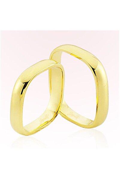 Harem Altın Kadın Sarı Kare Model Altın Alyans 5906