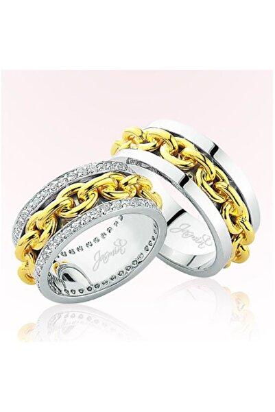 Harem Altın Kadın Zincir Detaylı Altın Alyans 2304