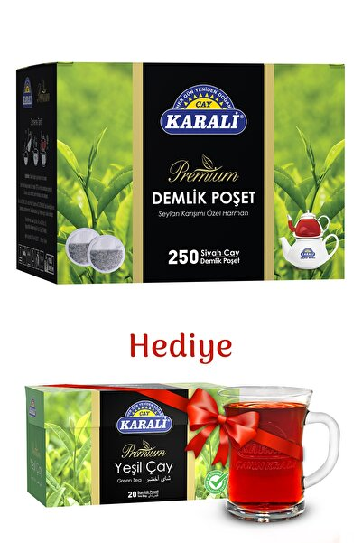 Karali Çay Karali Premium Demlik Poşet Çay 250'li + Bardak Poşet Yeşil Çay 20'li + Cam Kupa Hediyeli