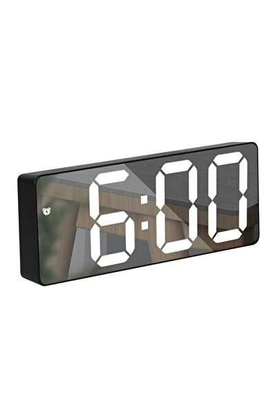 Triline Aynalı Termometre Alarm Takvimli Led Dijital Masa Saati