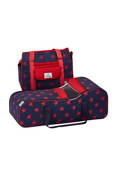 Nenny Baby Lüx 2li Bebek Taşıma Seti(portbebe+çanta) Lacivert-kırmızı Yıldızlı