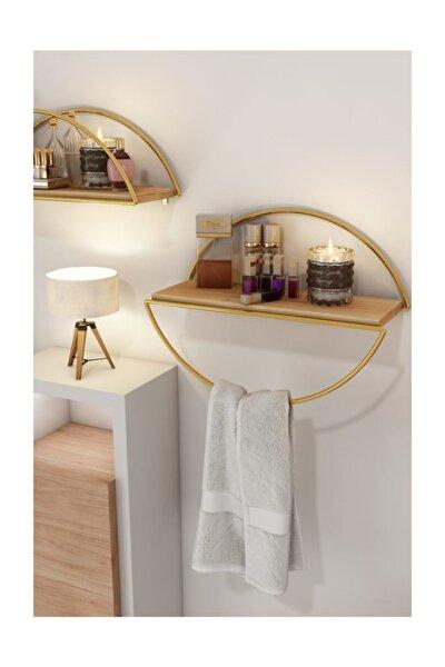 Bino Duvar Rafı Dekoratif Mutfak Banyo Altın Elips Kitaplık