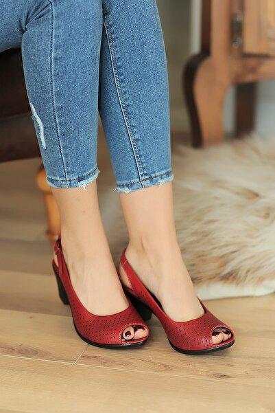 Pembe Potin Kırmızı Kadın Sandalet A610-20