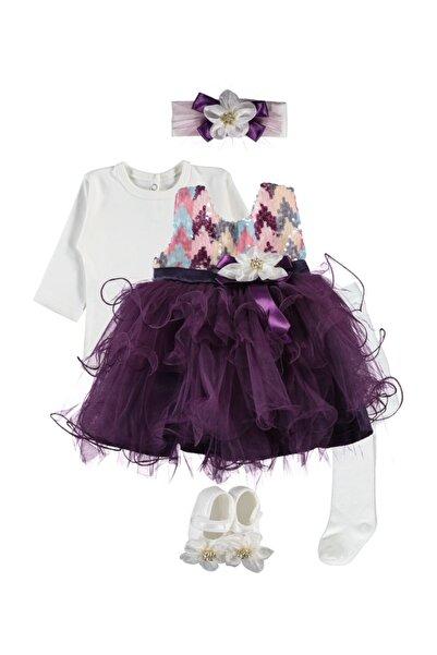 Ponpon Baby Pullu, Tüllü 5 Parça Özel Gün Elbise Seti Mor 0-6 Ay