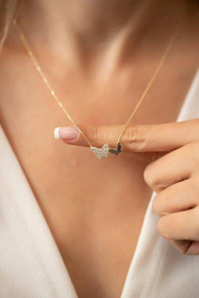 İzla Design Çift Kelebek Model Altın Kaplama Gümüş Italyan Kolye